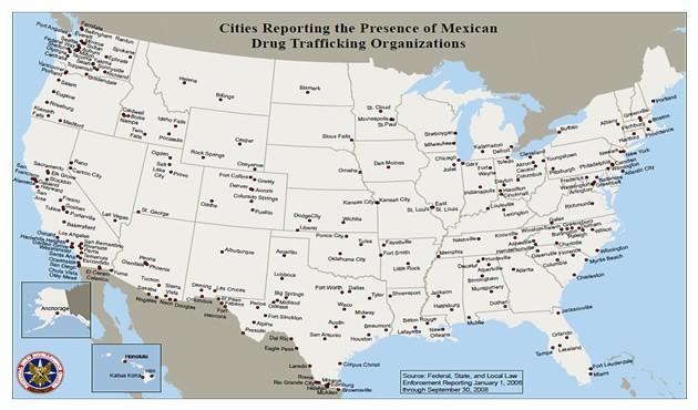 Ciudades de Estados Unidos donde hay redes de tráfico de droga mexicanas